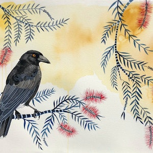 (CreativeWork) Currawong at Dusk by Sally Browne. watercolour. Shop online at Bluethumb.