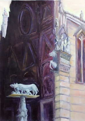 (CreativeWork) Siena Cathedral.  Early Morning Light by Graeme Symons. Oil Paint. Shop online at Bluethumb.