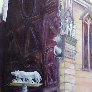 (CreativeWork) Sienna Cathedral.  Euarly Morning Light by Graeme Symons. oil-painting. Shop online at Bluethumb.