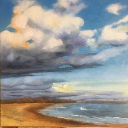 (CreativeWork) Skyscape study 1 by Roxanne Raschella. oil-painting. Shop online at Bluethumb.