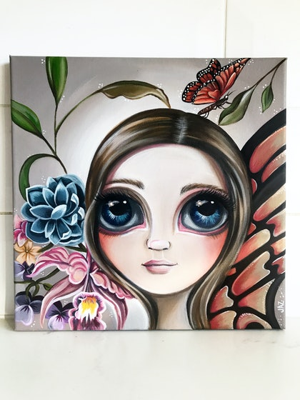 (CreativeWork) Fairy Beginnings by Jaz Higgins. arcylic-painting. Shop online at Bluethumb.