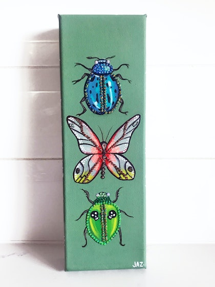 (CreativeWork) Glitter Bugs by Jaz Higgins. arcylic-painting. Shop online at Bluethumb.