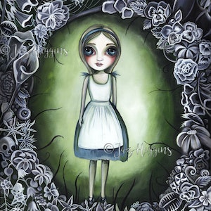 (CreativeWork) Alice in the Deadly Garden by Jaz Higgins. arcylic-painting. Shop online at Bluethumb.