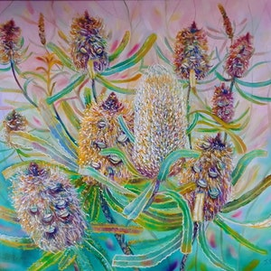 (CreativeWork) Old Man Banksia  by Joanne Scriha. oil-painting. Shop online at Bluethumb.