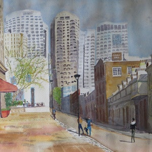 (CreativeWork) A Sunny Corner in the Rocks, Sydney  by Monika Scheffler. watercolour. Shop online at Bluethumb.