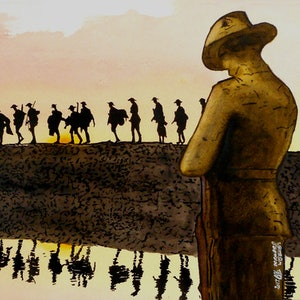 (CreativeWork) One Minute Silence (WW1 8th Battalion) by Bernard Weekes. watercolour. Shop online at Bluethumb.