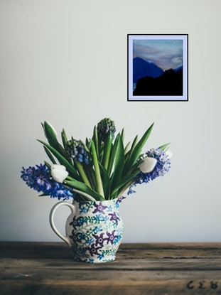 (CreativeWork) Dusky Mountains by Doodie Herman. Drawings. Shop online at Bluethumb.