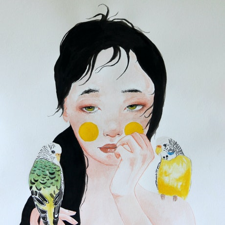 (CreativeWork) Girl in yellow by Mya Atkins. Watercolour Paint. Shop online at Bluethumb.