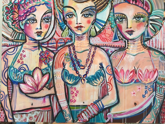 (CreativeWork) Priscilla, Queen Of The Desert. by Marianne Ulbrick. Acrylic Paint. Shop online at Bluethumb.