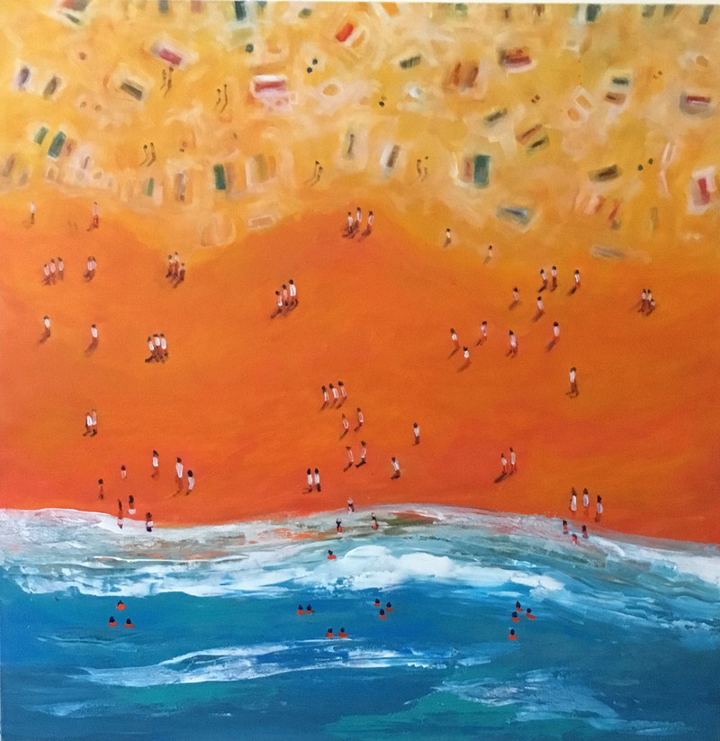 (CreativeWork) Beach combers by angela mulligan. arcylic-painting. Shop online at Bluethumb.