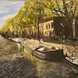 (CreativeWork) The Seine in Paris by John MOIR. arcylic-painting. Shop online at Bluethumb.