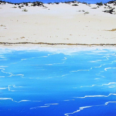 (CreativeWork) Blue on Blue by Sally Ford. Acrylic Paint. Shop online at Bluethumb.