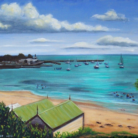 (CreativeWork) Old Boat Sheds, Mornington by Brita Lee. Acrylic Paint. Shop online at Bluethumb.