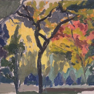 (CreativeWork) Hyde Park - & Dappled Colour by Ishbel Morag Miller. oil-painting. Shop online at Bluethumb.