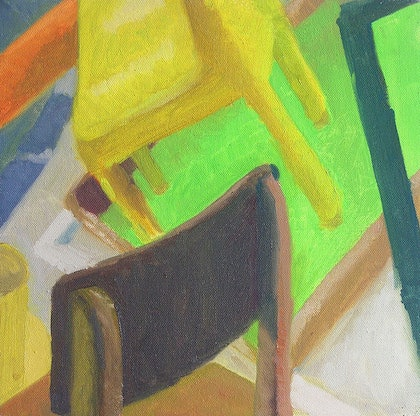 (CreativeWork) Still Life - Chairs & Frame by Ishbel Morag Miller. oil-painting. Shop online at Bluethumb.