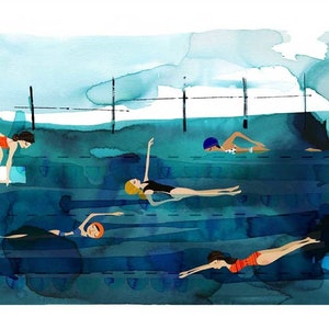 (CreativeWork) Deep Pool Ed. 35 of 100 by Gill Cameron  - Line for a Walk. print. Shop online at Bluethumb.
