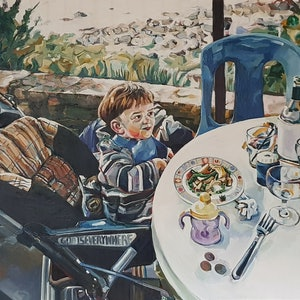 (CreativeWork) American at Eimeo Pub by Leo Alexander Scott. oil-painting. Shop online at Bluethumb.