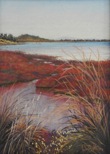 (CreativeWork) Red Carpet. Seascape by Lindy Whitton. other-media. Shop online at Bluethumb.