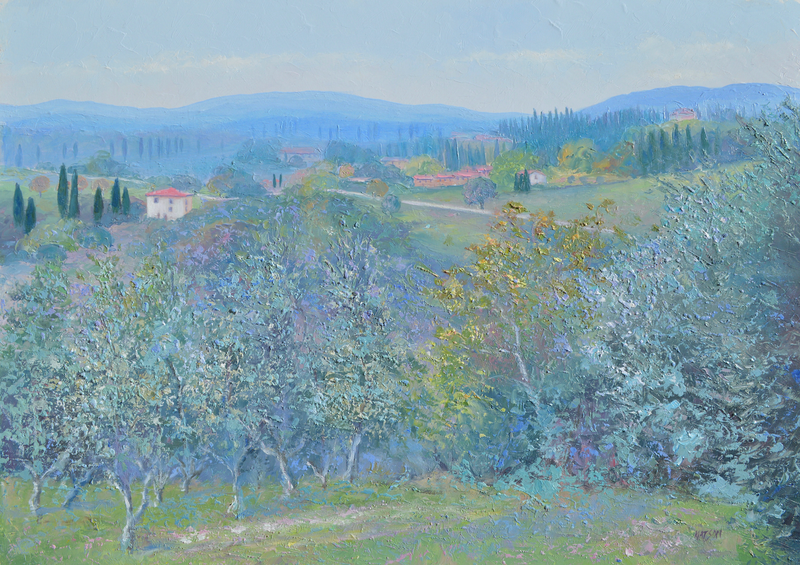 (CreativeWork) Olive Groves, Tuscany - FRAMED by Jan Matson. oil-painting. Shop online at Bluethumb.