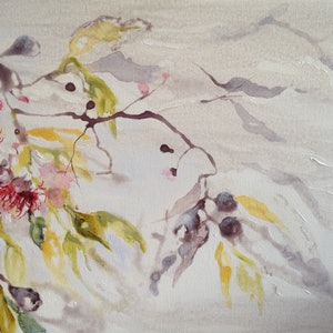 (CreativeWork) Gum Blossom 2 by Leanne Manns. arcylic-painting. Shop online at Bluethumb.