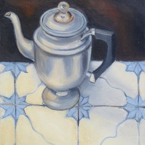 (CreativeWork) UNIVERSAL PERCULATOR ON PORTUGESE TILES by Karen McPhee. oil-painting. Shop online at Bluethumb.