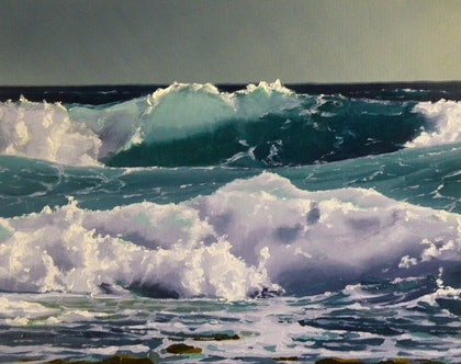 (CreativeWork) Green Wave 2 by Colin Madgwick. oil-painting. Shop online at Bluethumb.