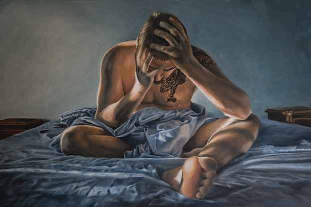 (CreativeWork) Insomnia by Sarah Park. Oil Paint. Shop online at Bluethumb.