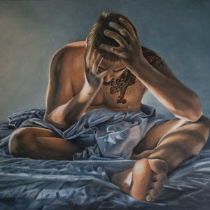 (CreativeWork) Insomnia by Sarah Park. oil-painting. Shop online at Bluethumb.