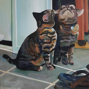 (CreativeWork) Cat Looking into Mirror by Leo Alexander Scott. oil-painting. Shop online at Bluethumb.