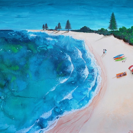 (CreativeWork) Afternoon Beach Bliss by Lisa Humphrey. Mixed Media. Shop online at Bluethumb.