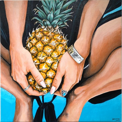 (CreativeWork) Pineapple Obsession 2 by Jo Hawkins. Acrylic. Shop online at Bluethumb.