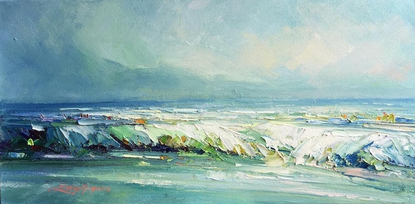 (CreativeWork) Colors of the ocean by Liliana Gigovic. Oil Paint. Shop online at Bluethumb.