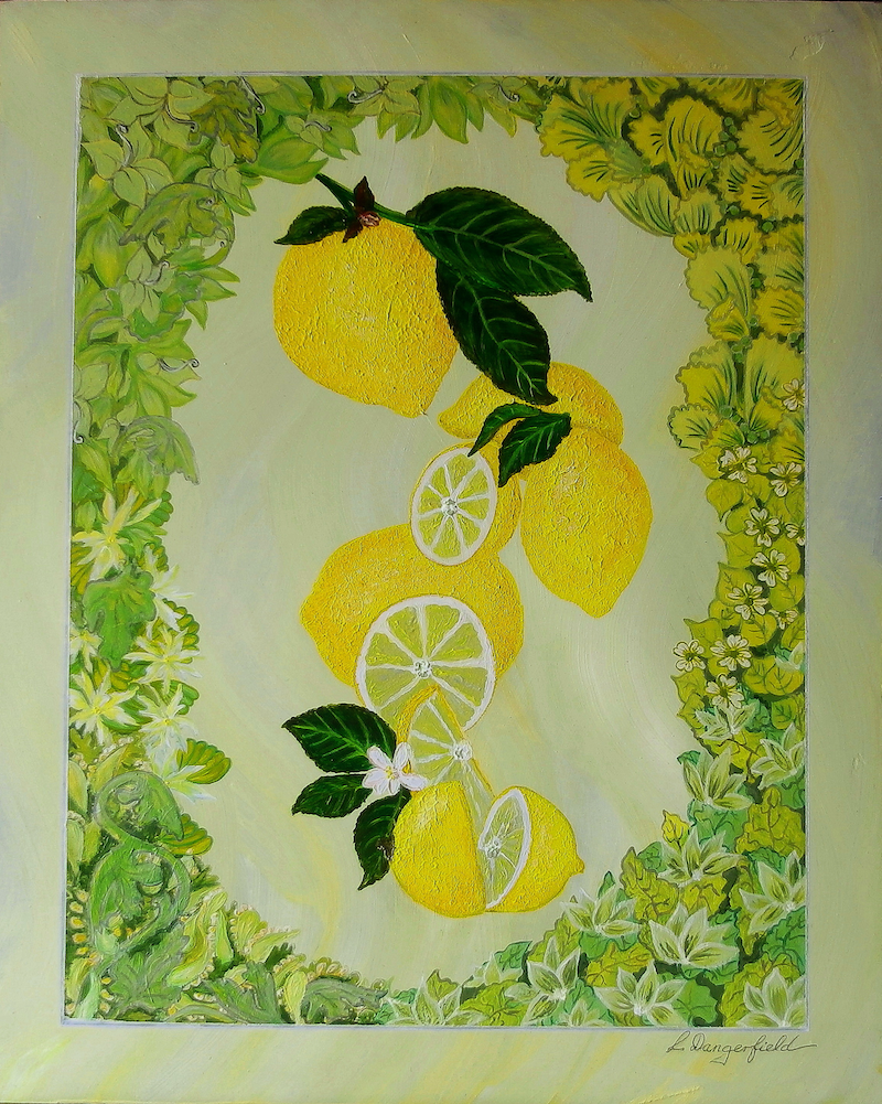 (CreativeWork) Citrus -Lemon by Lisa Dangerfield. arcylic-painting. Shop online at Bluethumb.