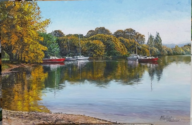 (CreativeWork) REFLECTIONS ON LAKE BURLEY GRIFFIN  by Margaret HADFIELD. #<Filter:0x00007f9798ef34e0>. Shop online at Bluethumb.