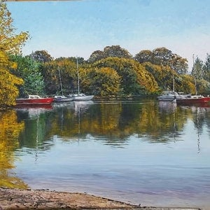 (CreativeWork) REFLECTIONS ON LAKE BURLEY GRIFFIN  by Margaret HADFIELD. oil-painting. Shop online at Bluethumb.