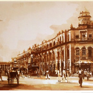 (CreativeWork) Victoria Arcade and GOH Building in 1910 Ceylon by Nudhi Perera. watercolour. Shop online at Bluethumb.