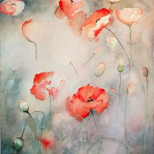 (CreativeWork) Poppies In Apricot by Lucinda Leveille. watercolour. Shop online at Bluethumb.