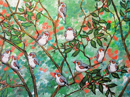 (CreativeWork) Springtime Gathering by Sally Ford. arcylic-painting. Shop online at Bluethumb.