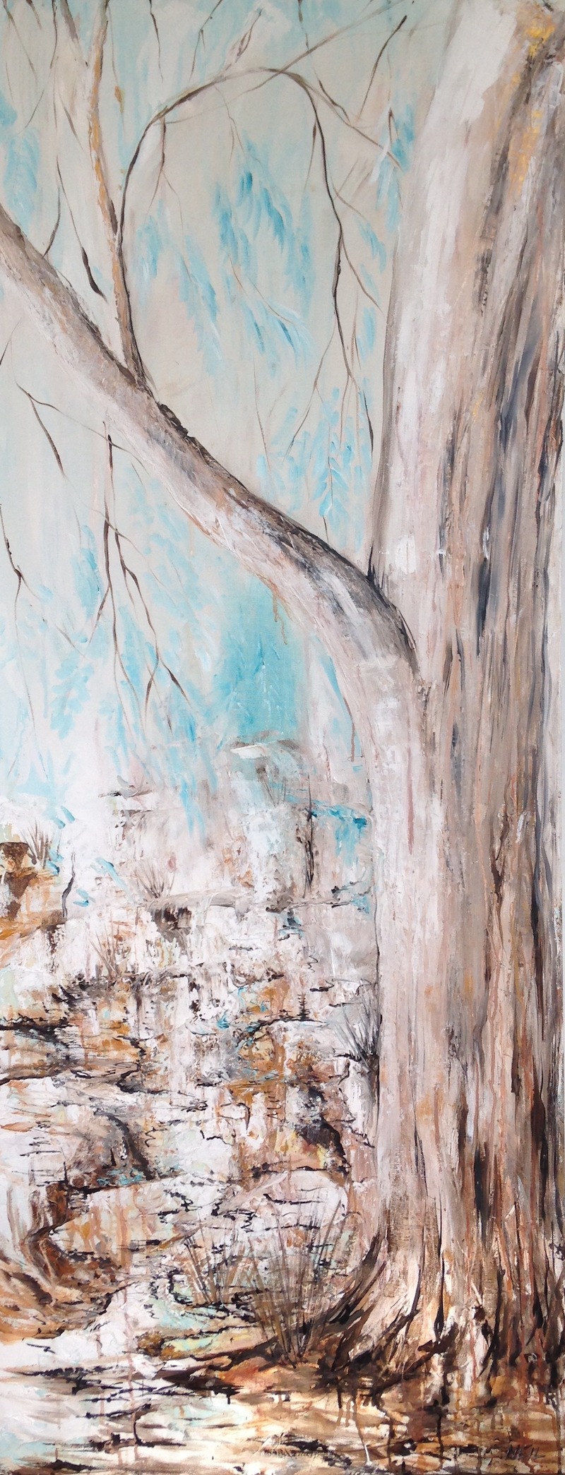 (CreativeWork) Amongst the Trees by Kim Neil. mixed-media. Shop online at Bluethumb.