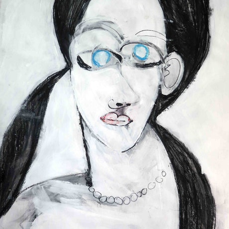 (CreativeWork) Blue eyed girl  by John Graham. Mixed Media. Shop online at Bluethumb.