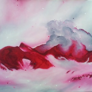 (CreativeWork) pink skies by Sian Greenup. oil-painting. Shop online at Bluethumb.