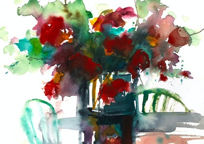 (CreativeWork) Afternoon Tea by Jill Bryant. watercolour. Shop online at Bluethumb.