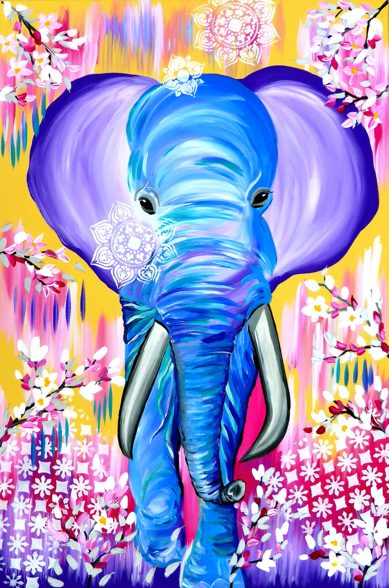 (CreativeWork) Elephant by Mark Humphries. arcylic-painting. Shop online at Bluethumb.