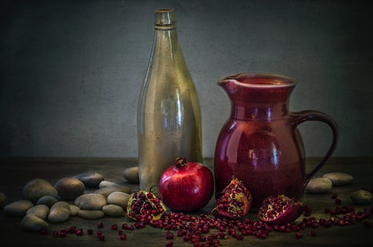 (CreativeWork) Still Life with Pomegranate by Anna-Riitta Ovaska. photograph. Shop online at Bluethumb.