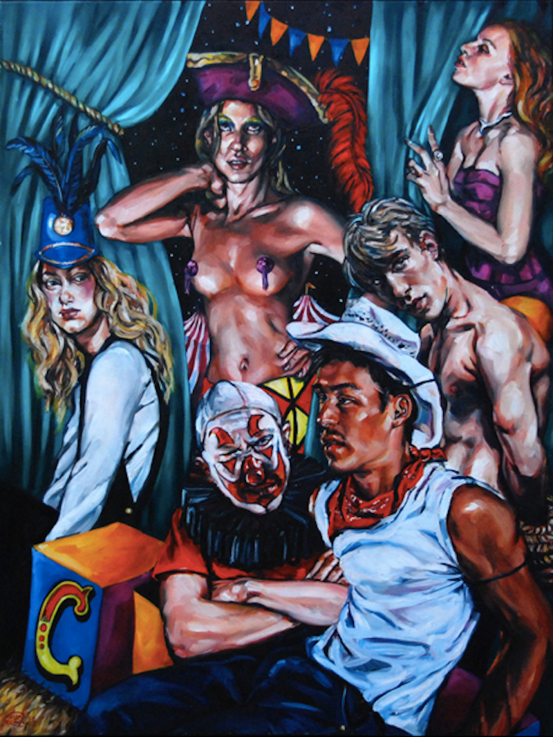 (CreativeWork) Big Top 3 by Gavin Brown. oil-painting. Shop online at Bluethumb.