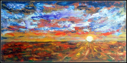 (CreativeWork) Sunset over the Desert by linda bartlett. arcylic-painting. Shop online at Bluethumb.
