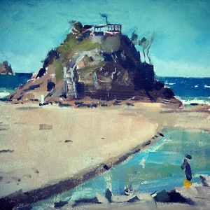 (CreativeWork) Cape Byron by Ray Wilson. oil-painting. Shop online at Bluethumb.