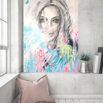 "(CreativeWork) ""Muse"" by LOU SHELDON. mixed-media. Shop online at Bluethumb."