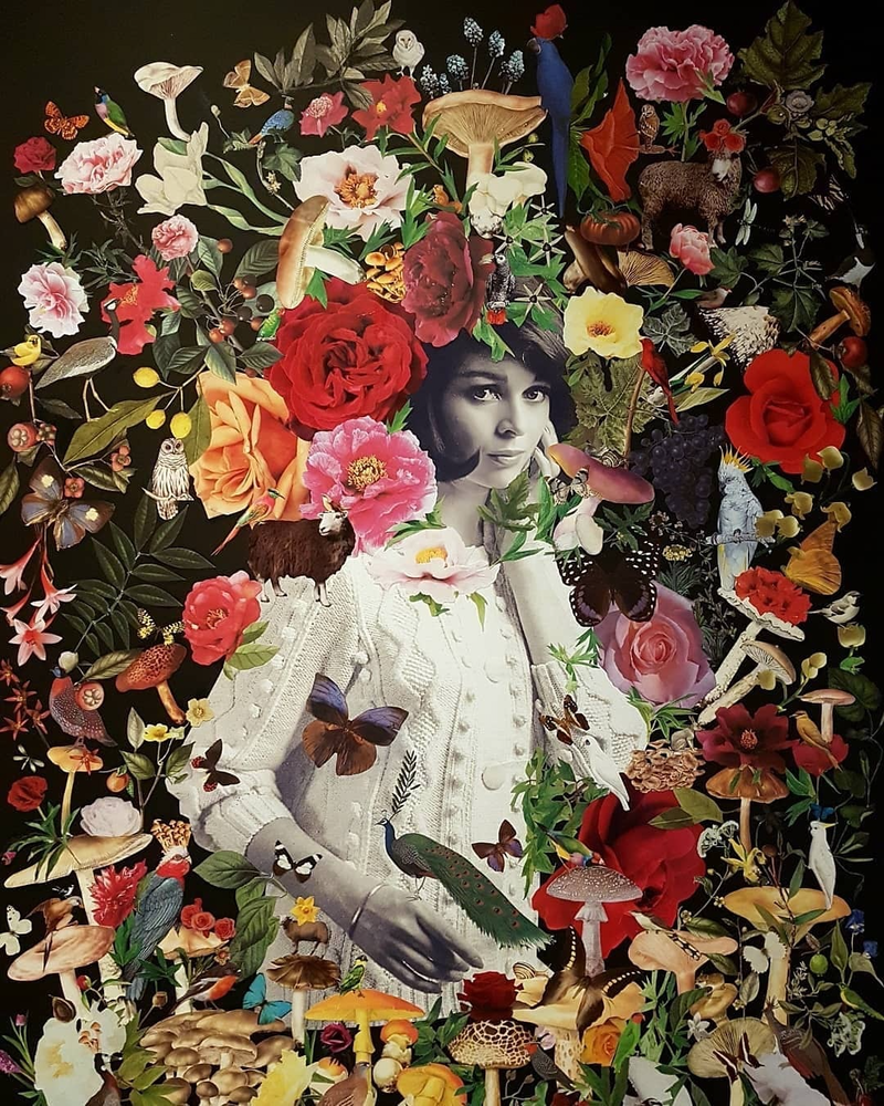 (CreativeWork) 'Olympia (after Manet) #3 by Karen Coull. mixed-media. Shop online at Bluethumb.