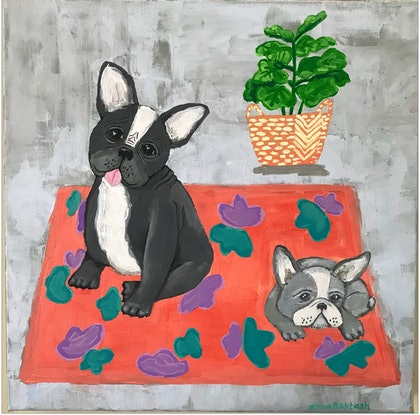 (CreativeWork) Frenchies and Fiddle Leaf by Anna Bektash. arcylic-painting. Shop online at Bluethumb.